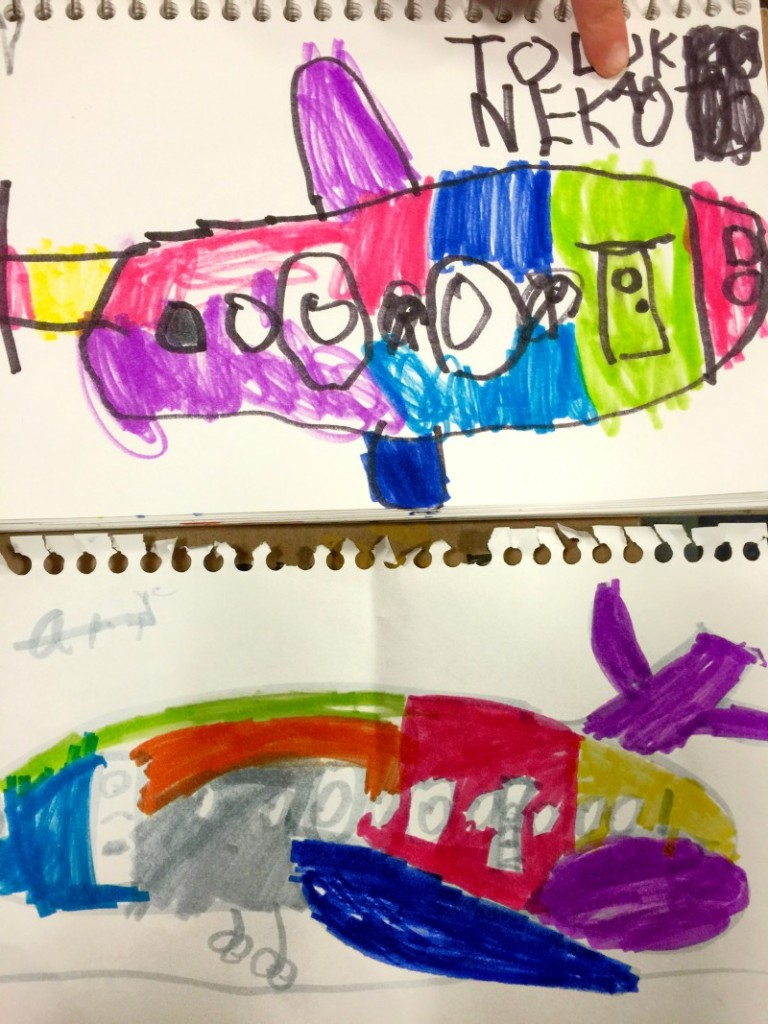 Drawing airplanes; top image by Little, bottom image by Big
